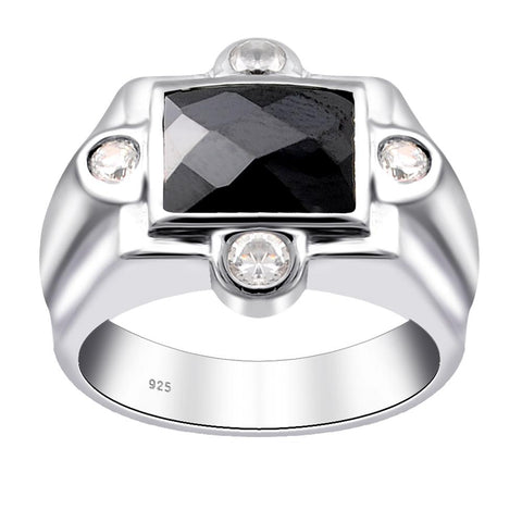 Orchid Jewelry Sterling Silver 4.6 Tcw Octagon-Cut Black & White Cubic Zirconia Halo Ring With Small Rounds