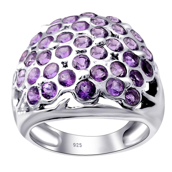 Orchid Jewelry 925 Sterling Silver Ladies Cast Round Cluster Ring With Amethyst, Ruby, Emerald, CZ
