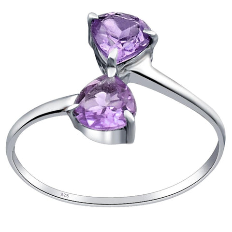 Orchid Jewelry Sterling Silver 2- Stone Heart Romantic Engagement Rings with Amethyst, Garnet, Peridot, Sapphire, Lemon Quartz & CZ