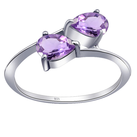 Orchid Jewelry 925 Sterling Silver 2-Stone Pear Cut Engagement Ring with Amethyst, Citrine, Garnet & Peridot