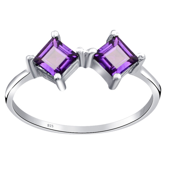 Orchid Jewelry 0.7Ct Two-Stone Square Cut 925 Sterling Silver Ring with Amethyst, Garnet & Topaz