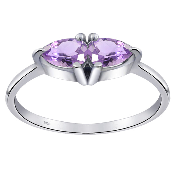 Orchid Jewelry Sterling Silver 0.9 ct. Amethyst, Citrine ,Peridot & CZ 2-Stone Pear Shape Ring