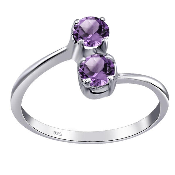 Orchid Jewelry 925 Sterling Silver 0.6 Ctw Round Cut Solitaire Ring With Amethyst, Blue Topaz, Garnet & Sapphire