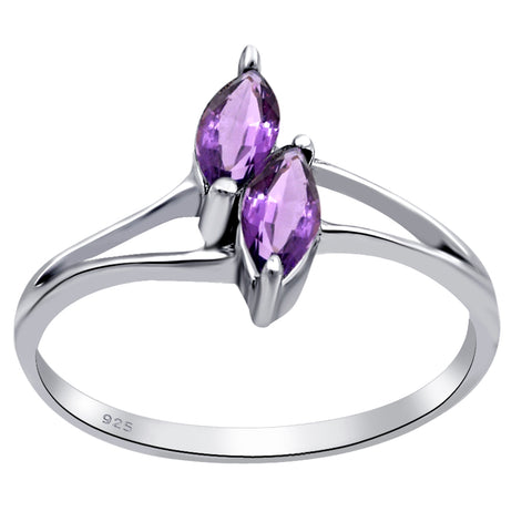 Orchid Jewelry 925 Sterling Silver Marquise Cut Gemstone Ring With Amethyst, Citrine, Garnet  & CZ