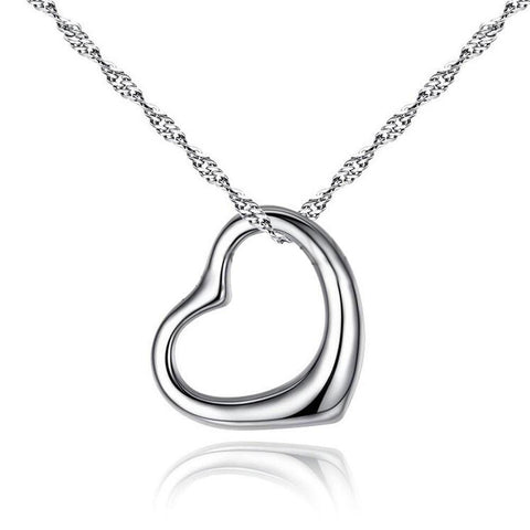 Quality Jewelry Heart Shape Plain Platinum color plated Brass Necklace