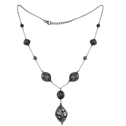 Jeweltique Designs 12.67 Carat Pave Diamond Necklace with Black Rhodium Plated Sterling Silver Necklace
