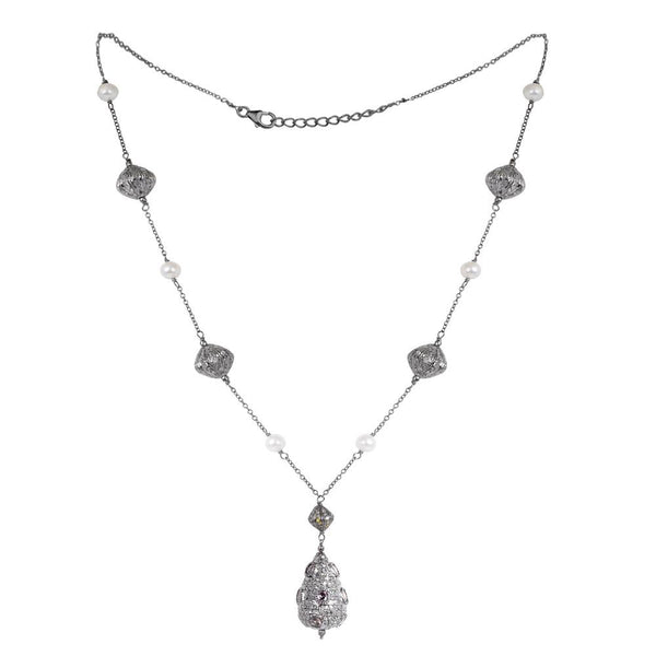Jeweltique Designs Sterling Silver 19.60 Carat Diamond, Sapphire & Pearl Oxidized Necklace