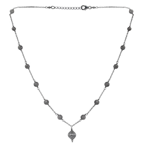Jeweltique Designs 925 Sterling Silver 4.61 Carat Diamond Black Oxidized Necklace