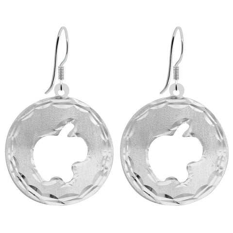 Essence Jewelry 925 Sterling Silver Circle Textured Earrings