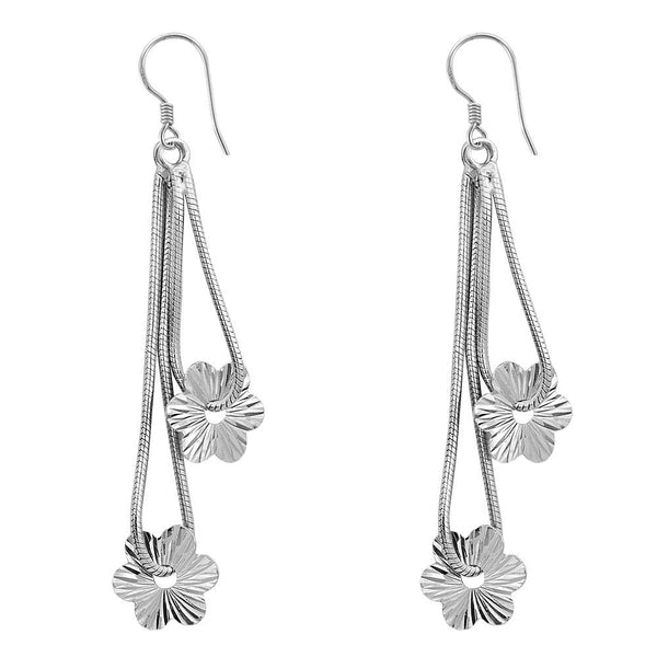 Essence Jewelry 925 Sterling Silver Flower Dangle Earrings