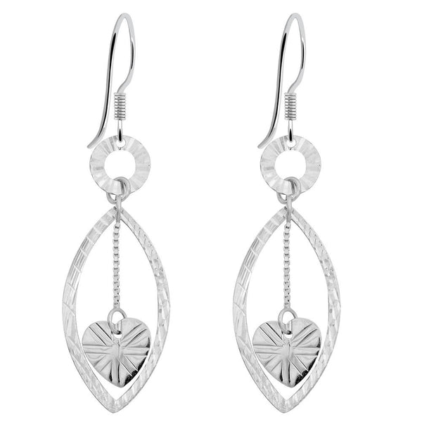Essence Jewelry 925 Sterling Silver Heart Dangle Earrings
