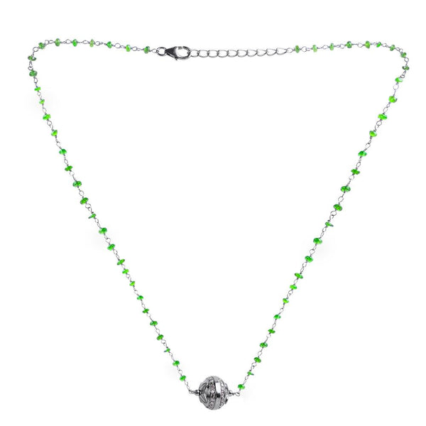 Jeweltique Designs Sterling Silver 10.21 Ctw Diamond & Chrome Diopside Necklace