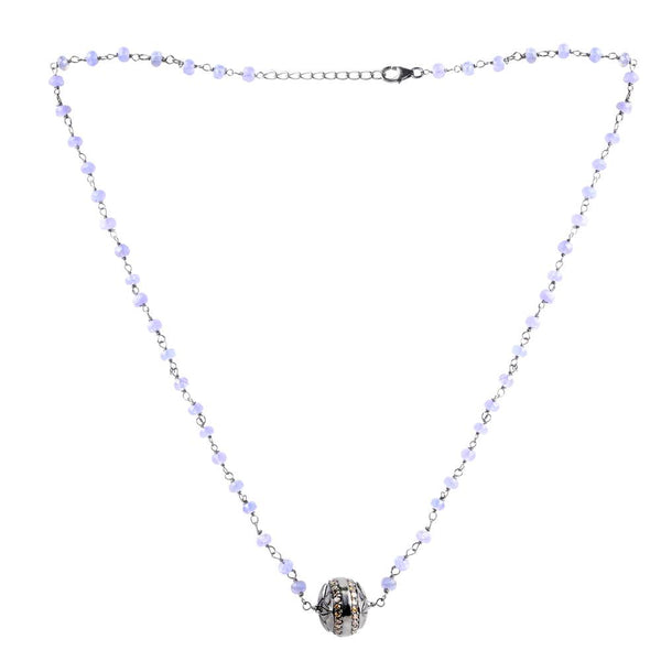 Jeweltique Designs Sterling Silver 16.41 Carat Diamond & Tanzanite Necklace