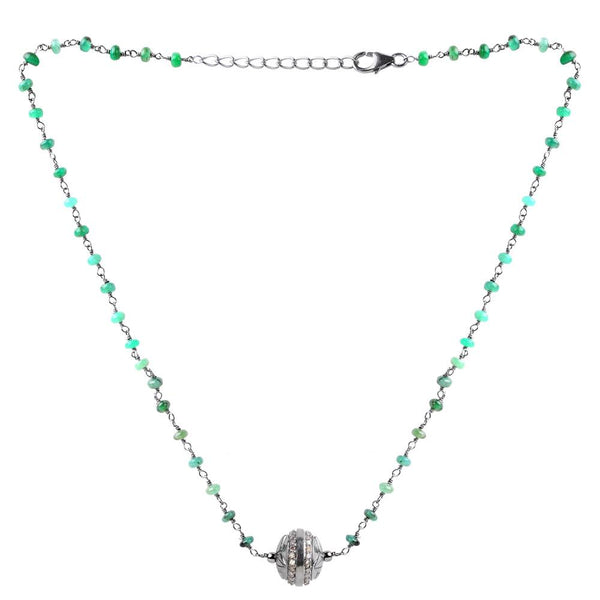 Jeweltique Designs Sterling Silver 15.41 Carat Diamond & Emerald Necklace