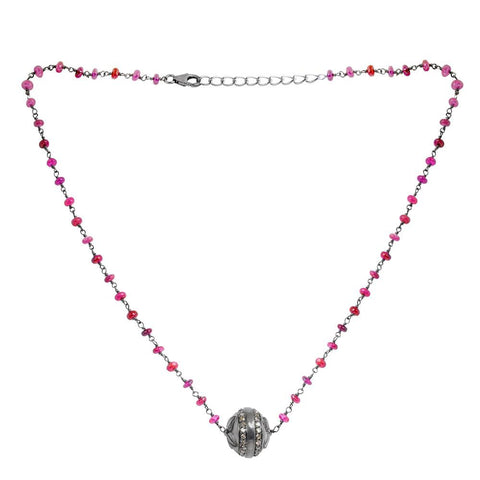 Jeweltique Designs 925 Sterling Silver 21.51 Carat Diamond & Ruby Necklace
