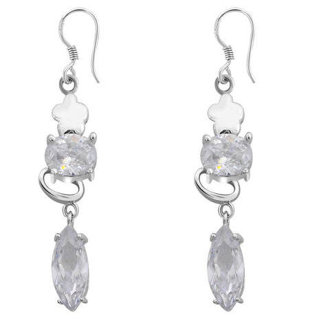 Orchid Jewelry 925 Sterling Silver Cubic Zirconia Gemstone Earring