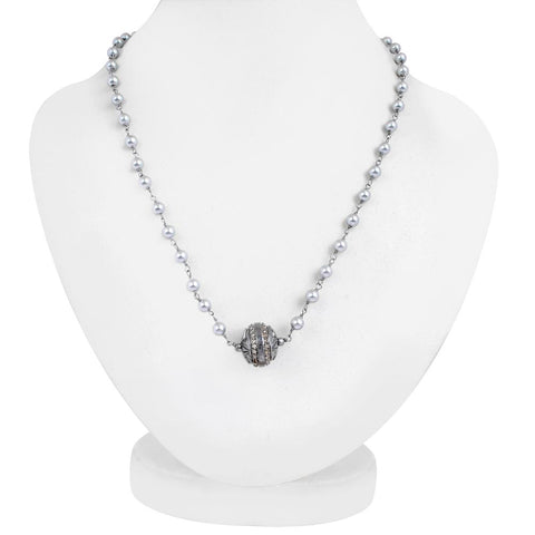 Jeweltique Designs 925 Sterling Silver 20.71 Carat Genuine Diamond and Pearl Necklace