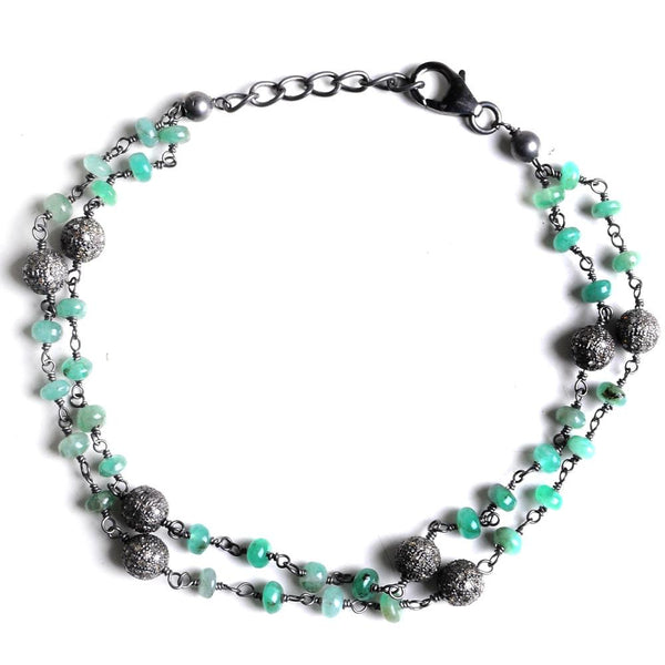 Jeweltique Designs Sterling Silver 12.88 carat Diamond & Emerald Bracelet