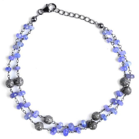 Jeweltique Designs Sterling Silver 17.28 Carat Diamond & Tanzanite Bracelet