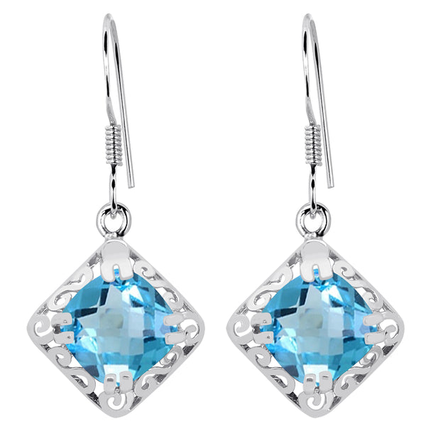 Orchid Jewelry 925 Sterling Silver 5.57 Carat Blue Topaz Solitaire Earrings