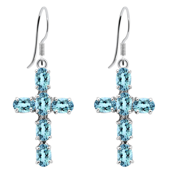 Orchid Jewelry 925 Sterling Silver 6.84 Carat Blue Topaz Cross Dangle Earrings