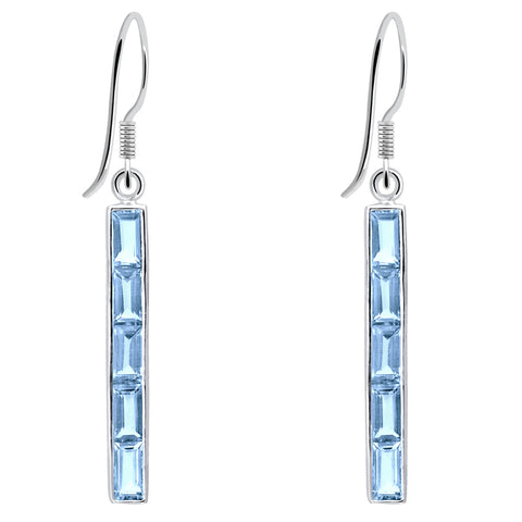 Orchid Jewelry 925 Sterling Silver 7.30 Carat Blue Topaz Vertical Bar Earrings
