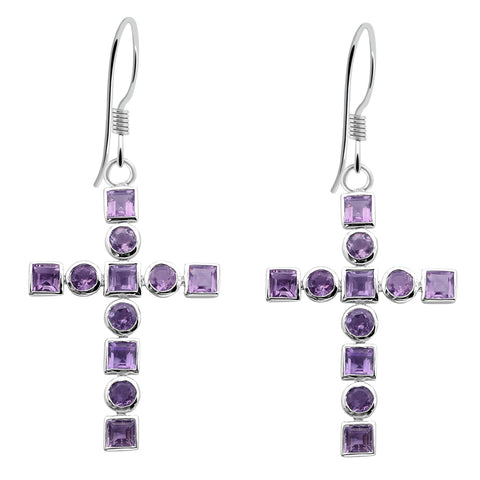Orchid Jewelry Sterling Silver 6.14 Carat Amethyst Cross Dangle Earrings