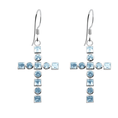 Orchid Jewelry Sterling Silver 8.48 Carat Blue Topaz Cross Dangle Earrings