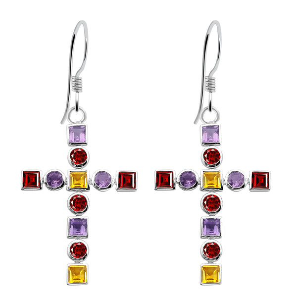 Orchid Jewelry Sterling Silver 7 Carat Multi Gemstone Cross Earrings For Girls