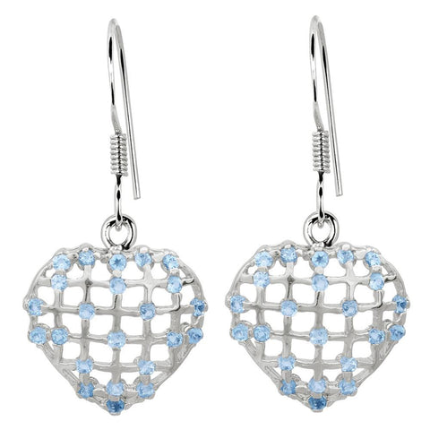 Orchid Jewelry 2.30 Carat Blue Topaz Heart 925 Sterling Silver Earrings