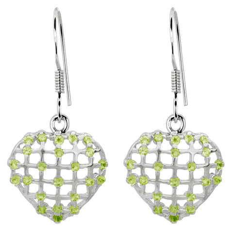 Orchid Jewelry 925 Sterling Silver 1.84 Carat Peridot Heart Earrings