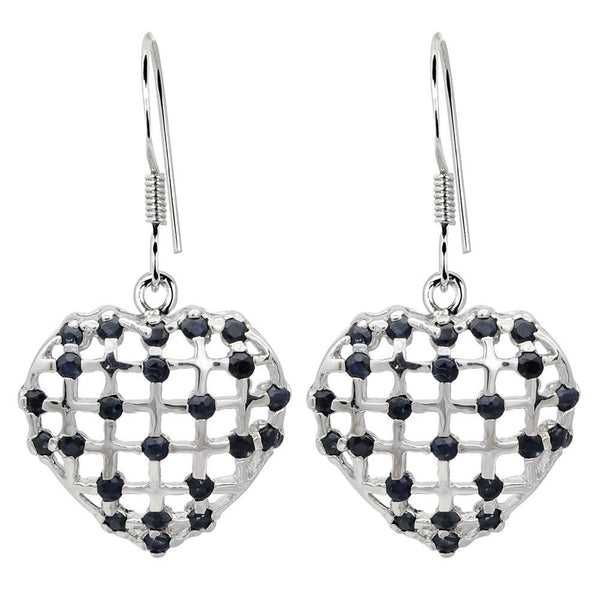 Orchid Jewelry 2.30 Carat Sapphire Heart 925 Sterling Silver Earrings