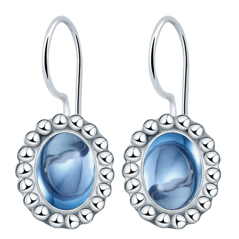 Orchid Jewelry Solid Sterling Silver 3.48 Carat Blue Topaz Dangle Hook Earrings