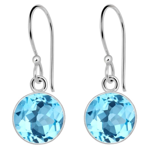 Orchid Jewelry 6 Carat Blue Topaz 925 Sterling Silver Earrings