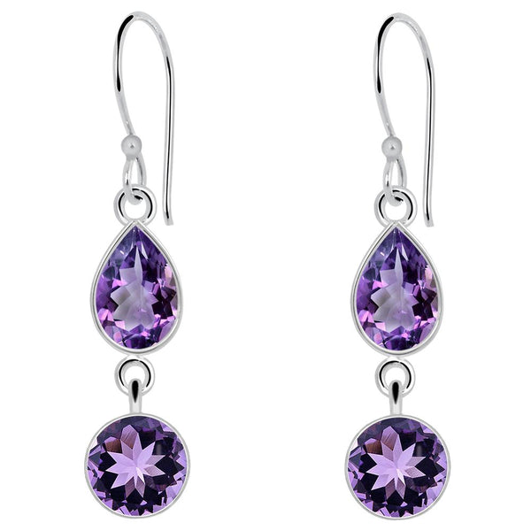 Orchid Jewelry 6 Carat Amethyst 925 Sterling Silver Dangle Earrings