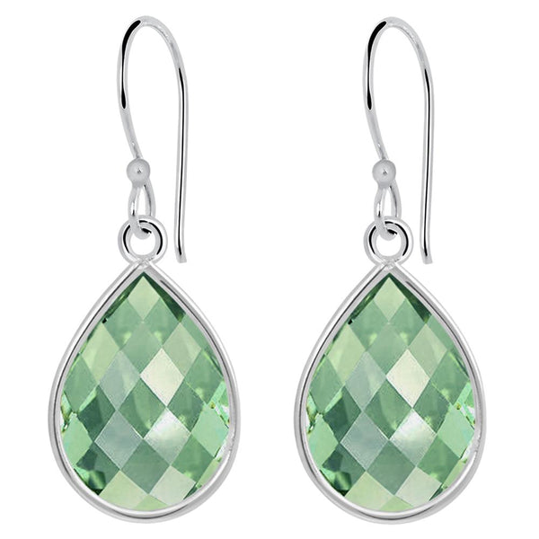 Orchid Jewelry 925 Sterling Silver 9.55 Carat Green Amethyst Teardrop Earrings