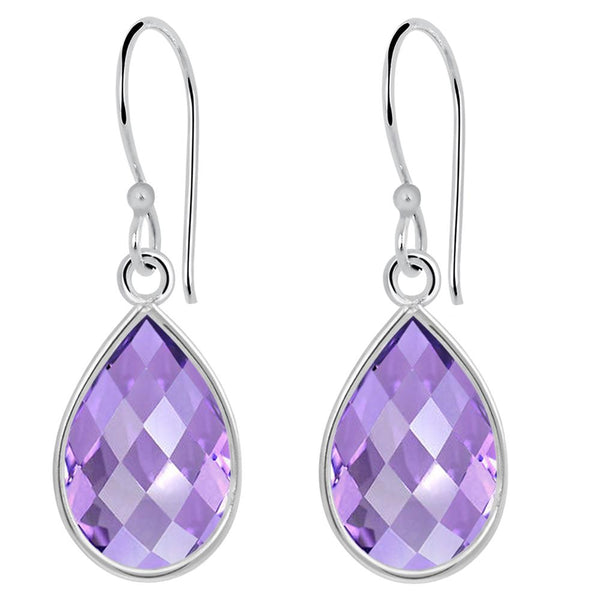 Orchid Jewelry 7.50 Carat Amethyst 925 Sterling Silver Bridal Earrings