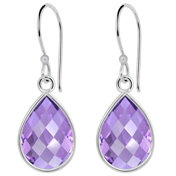 Orchid Jewelry 5.45 Carat Amethyst 925 Sterling Silver Bezel Earrings