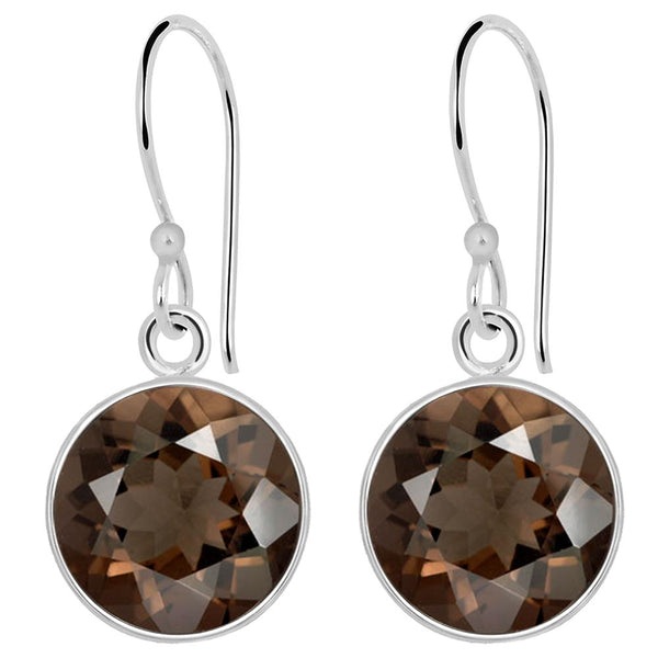 Orchid Jewelry 925 Sterling Silver 4.85 Carat Smoky Quartz Hook Earrings