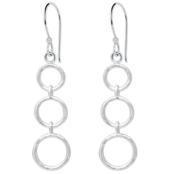 Essence Jewelry 3-Tier Circle 925 Sterling Silver Chandelier Earrings
