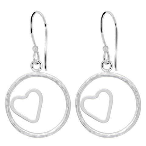 Essence Jewelry 925 Sterling Silver 'Heart In Circle' Dangle Earrings