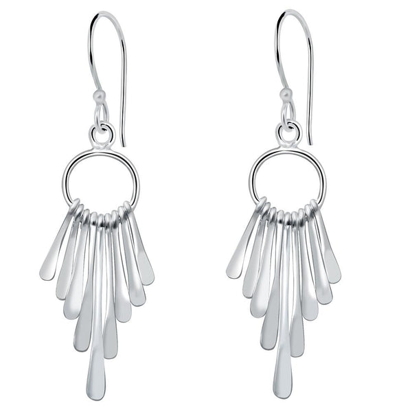 Essence Jewelry Handmade Sterling Silver Cascading Rods Chandelier Style Earrings