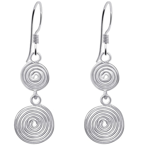 Essence Jewelry Handmade Sterling Silver  2-Tier Spiral Dangle Hook Earrings