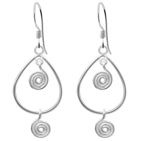 Essence Jewelry Handmade Sterling Silver Handmade Artisan Swirl Design Inside Teardrop Earrings