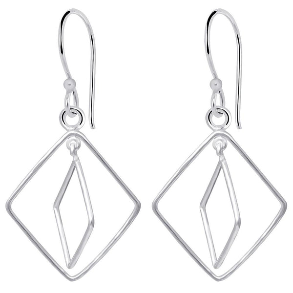Essence Jewelry Handcrafted 925 Sterling Silver Wire Square Design Dangle Earrings