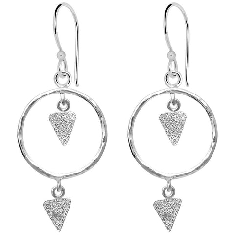 Essence Jewelry Handmade Sterling Silver Circle And Triangle Textured 2-Tier Dangle Earrings
