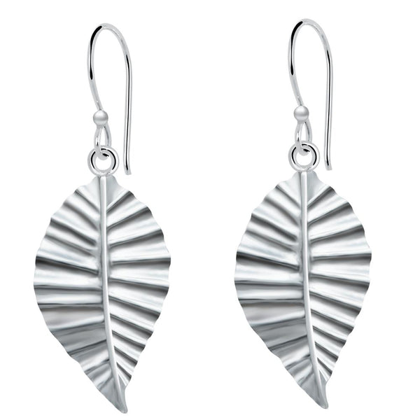 Essence Jewelry Sterling Silver Leaf Dangle Earrings