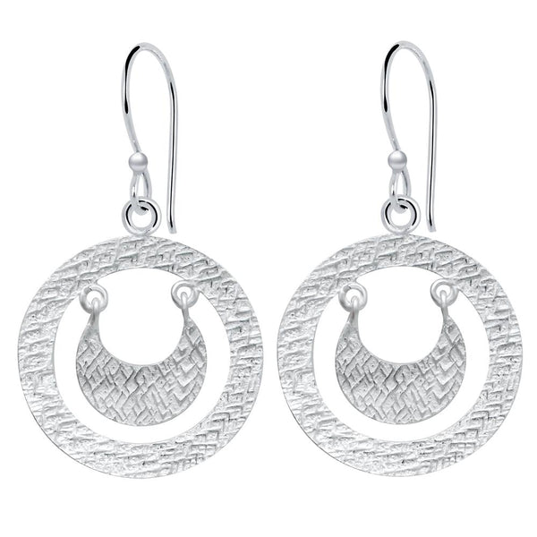 Essence Jewelry Sterling Silver Textured 'Crescent in Circle' Dangle Earrings