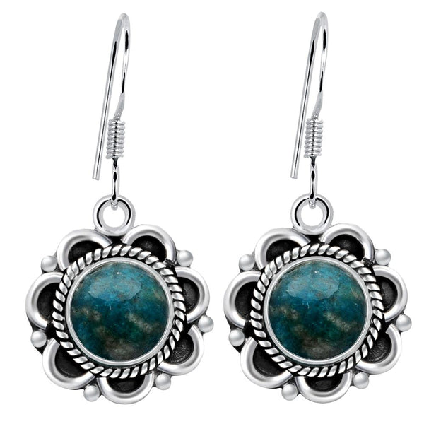 Orchid Jewelry 4.80 Carat Amazonite 925 Sterling Silver Oxidized Earrings