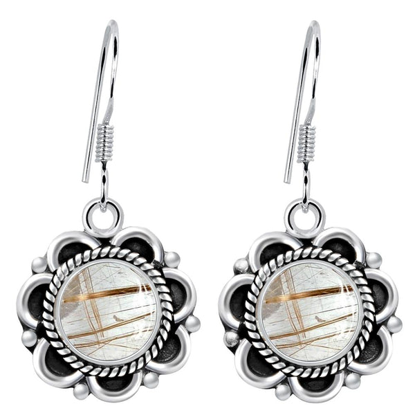 Orchid Jewelry 925 Sterling Silver 4.80 Carat Rutiliated Quartz Gemstone Earrings